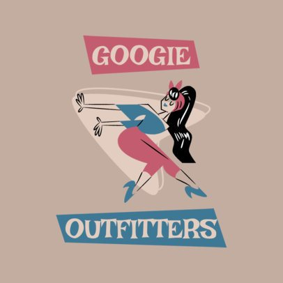 Clothing Brand Logo Maker Featuring a Retro Cartoon 3227a