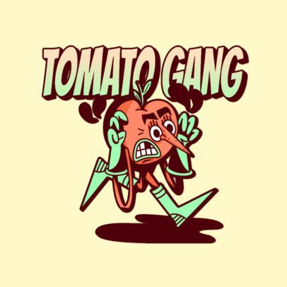 Clothing Brand Logo Creator Featuring a Funny Tomato Cartoon 3236m