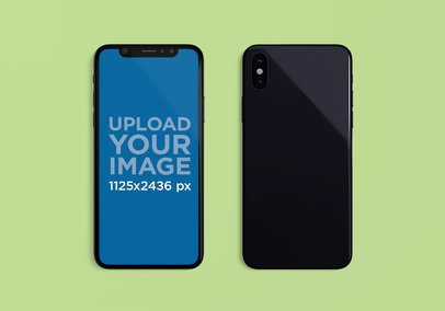 Mockup of an iPhone X Lying Next to Another one Facing Down 2002-el1