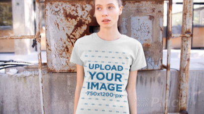 T-Shirt Video of a Woman in a Rusty Scenario 12917