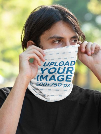 Neck Gaiter Mockup of a Covering His Face 36147
