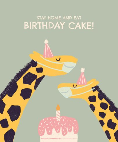 Kids T-Shirt Design Maker Featuring Two Giraffes with a Birthday Cake 2528f