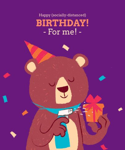 T-Shirt Design Template with a Birthday Bear Illustration 2528d