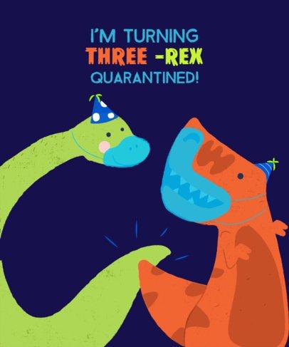 Birthday T-Shirt Design Maker Featuring Joyful Dinosaur Illustrations 2528b