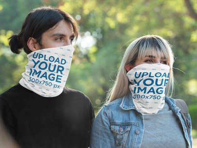 Neck Gaiter Mockup Featuring a Man and a Woman 36143