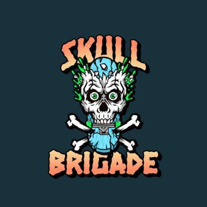 Clothing Brand Logo Maker Based on Santa Cruz Featuring a Zombie Skull 3266f