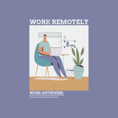 Instagram Post Creator Featuring an Artistic Illustration of a Man Working From Home 1392b-el1
