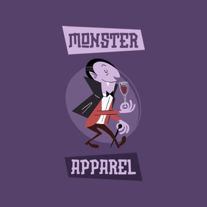 Clothing Brand Logo Maker Featuring a Funny Dracula Cartoon Character 3227g