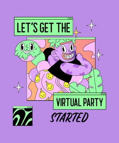 Quarantine T-Shirt Design Creator for a Virtual Party 2529g