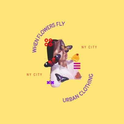 Urban Clothing Brand Logo Creator Featuring a Bizarre Butterfly Collage 3257c