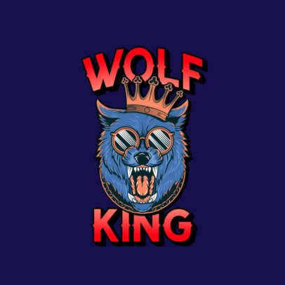Illustrated Logo Maker Featuring a Wolf with a Crown 3266l