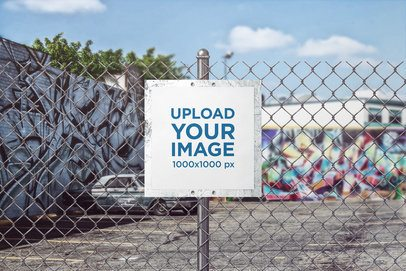Sign Mockup Featuring Graffiti in the Background 4139-el1