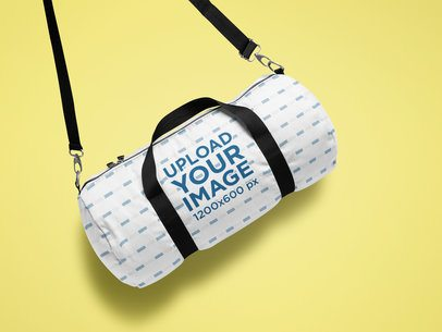 Mockup Featuring a Sublimated Duffle Bag with Shoulder Strap 25338