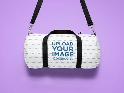Sublimated Duffle Bag Mockup Featuring a Minimalist Setting 25741