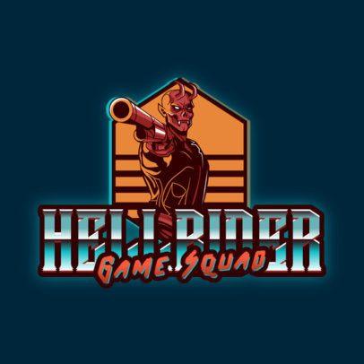 Logo Maker for an Esports Team Featuring a Demon With a Gun 3279c