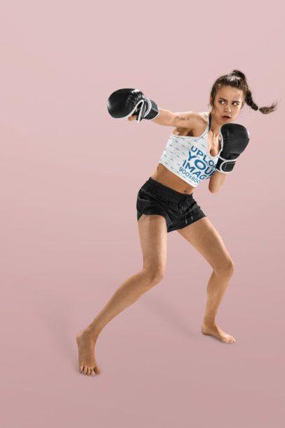 Long Sports Bra Mockup of a Woman Boxing 34597-r-el2