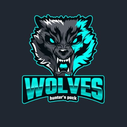 Illustrated Gaming Logo Generator Featuring Angry Wolves 3291