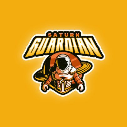 Gaming Logo Maker Featuring a Space Character and an Illustrated Planet 3274o