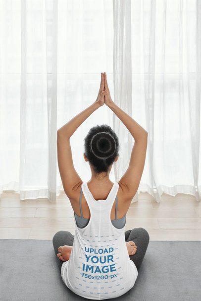 Back View Mockup of a Woman with a Tank Top Doing Yoga 34229-r-el2