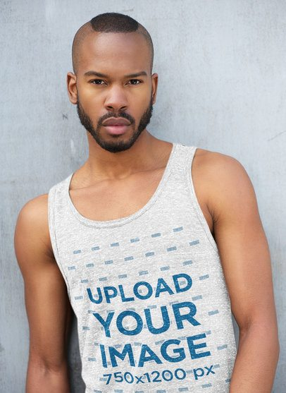 Heather Tank Top Mockup Featuring a Man with a Modern Haircut 34793-r-el2