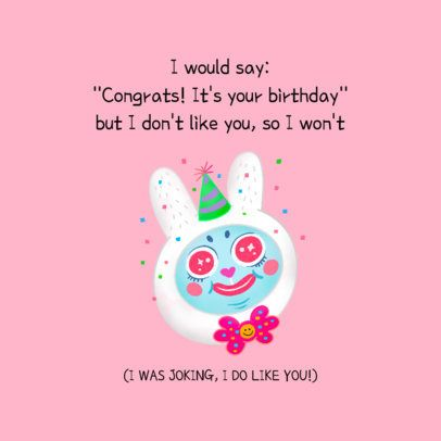 Birthday Facebook Post Maker with a Festive Bunny 2551c