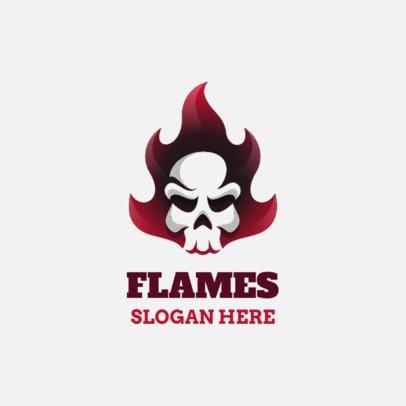 Logo Creator of a Minimalist Skull in Flames 1631a