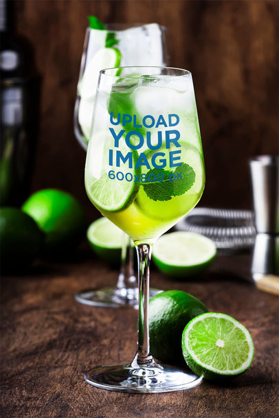 Mockup of a Wine Glass with a Mojito 36706-r-el2