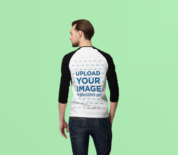 Back View Mockup of a Man Wearing a Raglan Long-Sleeve Tee at a Studio 4377-el1