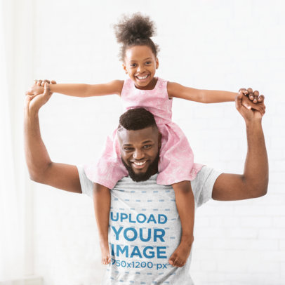 T-Shirt Mockup of a Happy Dad Carrying His Daughter on His Shoulders 34631-r-el2
