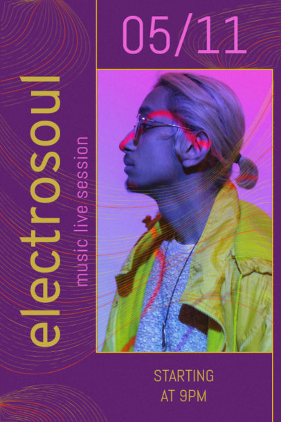 Poster Design Creator for a Dj Featuring Acid Lines 2573e