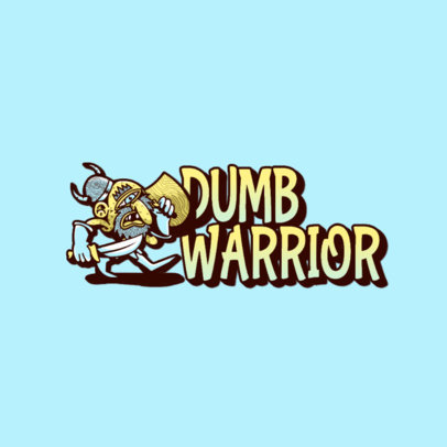 Illustrated Logo Maker Featuring a Gross Cartoon-Styled Warrior 3329c