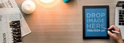 iPad Black Portrait Top Desk Shot