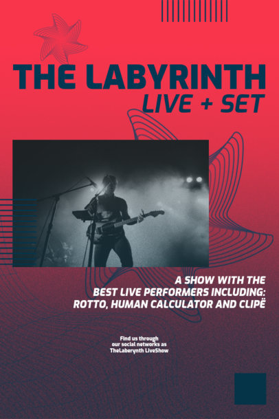 Poster Design Template for a Live Musical Set Promo 2574a