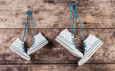 Mockup of Two Pairs of Sneakers Hanged on a Wall 36513-r-el2