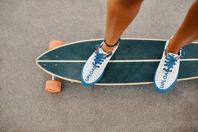 Sneakers Mockup of a Woman on a Longboard 36537-r-el2