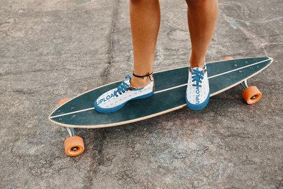 Sneakers Mockup Featuring a Woman Riding a Longboard 36536-r-el2