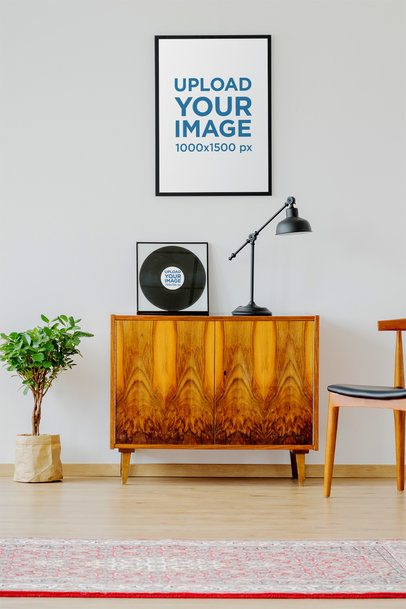 Mockup of a Framed Poster and a Vinyl Record on a Modern Studio 36959-r-el2
