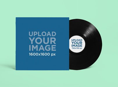 Mockup Featuring a Vinyl Record and Its Cover Placed Against a Solid Color Backdrop 4533-el1