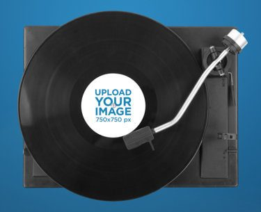Vinyl Record Mockup Featuring a Record Player 37195-r-el2