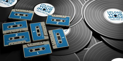 Mockup of a Bunch of Vinyl Discs and Cassette Tapes 36689-r-el2