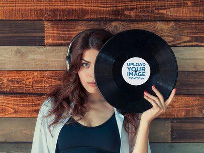 Mockup of a Woman Posing with a Vinyl Record 36729-r-el2