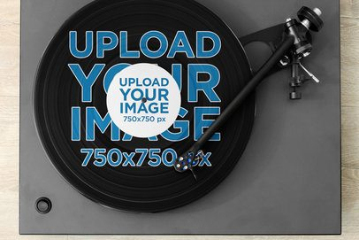 Mockup Featuring a Vinyl Record on a Turntable 36907-r-el2