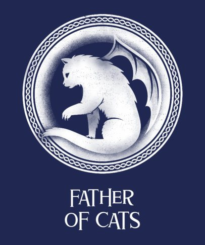 Father's Day T-Shirt Design Template for a Cat Person 24h-2614