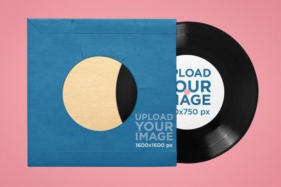 Vinyl Record Mockup With a Customizable Background 36663-r-el2