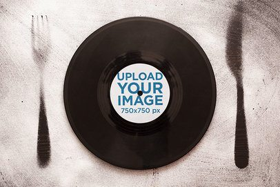Mockup of a Vinyl Record Set as a Dish with Cutlery Items 36929-r-el2