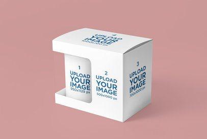 Mockup Featuring an 11 oz Mug Inside a Customizable Box 4484-el1