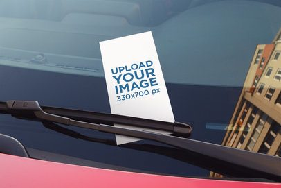 Mockup of a Flyer on a Car's Windshield 4511-el1