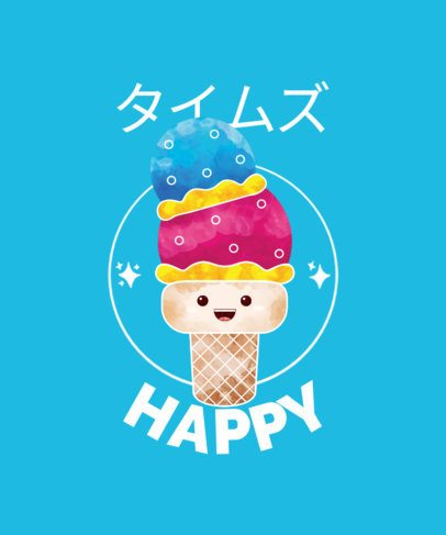 T-Shirt Design Creator with a Happy Ice Cream Character 1875b-el1