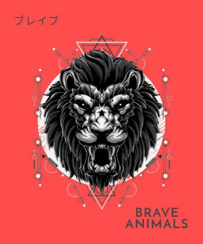 T-Shirt Design Maker Featuring a Roaring Lion Graphic 1792j-el1