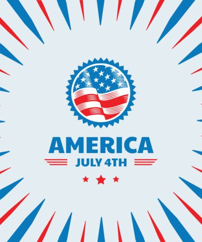 T-Shirt Design Template with a Waving American Flag Icon for 4th of July 1852c-el1